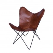 bhp Butterfly Chair Brown Leather Metal B412678