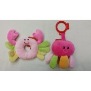 Ocean Friends Baby Crab Ring Rattle And Baby Octopus Rattle Stroller Toy Car Seat Toy Take Along Toy 2 Pcs / Set