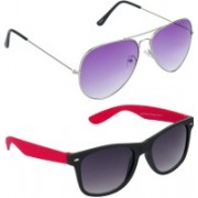 Hrinkar Aviator Sunglasses(Violet, Grey)