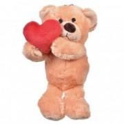 Ursulet bej de plus cu inima rosie 30 cm