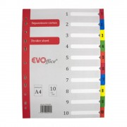 Separatoare din Carton EVOffice, Format A4, 10 Culori/Set, Index din Carton, Separatoare Bibliorafturi - Despartitoare din Carton