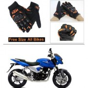 AutoStark Gloves KTM Bike Riding Gloves Orange and Black Riding Gloves Free Size For Bajaj DTS-i