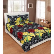 black bed sheet red rose and yellow flowers with pillow cover