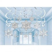Amscan - Colgantes invierno País De Las Maravillas Fiesta de Navidad Copos de nieve y Swirl (30 unidades), color blanco/plateado, talla única
