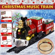 Christmas Train Set Railway Rail Tracks Toys Electric Railway Train Set with Locomotive Engine Cars Lights And Sounds Xmas Gift