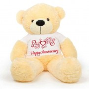 Peach 5 feet Big Teddy Bear wearing a Happy Anniversary T-shirt