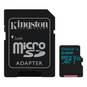 Kingston microSDXC Canvas Go 90R/45W + SD Adapter, 64GB