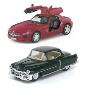 Playking Kinsmart Combo of Mercedes-Benz SLS AMG and 1953 Cadillac Series 62 Coupe 5'' Die Cast Metal, Doors Openable and Pull Back Action Car (Color May Vary)