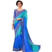 bhavna creation's brand new collection blue mirror and lace work sarees with blouse piece