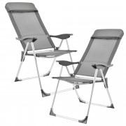 Комплект от 2 броя къмпинг столове [casa.pro]®, 108 x 58 cm, Тъмносив