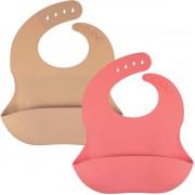 Siliconen slabbetje KliederZ – slab met opvangbakje set 2 stuks slabbers baby meisje – waterdicht - kraamcadeau - SB03