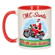 Bellatio Decorations Kerstmis cadeau mok MC Santa north pole division 300 ml
