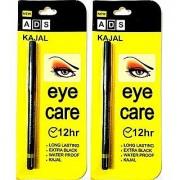 ADS kajal 12 Hour Eye Care Long Lasting Extra Black Waterproof - Pack of 2