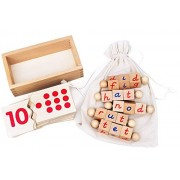 Kenley Reading Blocks & Numbers Jigsaw Puzzle - Montessori Materials Educational Learning Toys for Children 3 4 5 Years Abc Alphabet Letter Counting Number Wooden Game Nursery Reception Kids