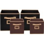 Billion Designer Non Woven 4 Pieces Small & Large Foldable Storage Organiser Cubes/Boxes (Black & Coffee) - CTKTC35337 CTLTC035337(Black & Brown)