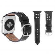 Voor Apple Watch 38mm serie 3 & 2 & 1 Fashion Occident stijl bloemen echt lederen pols horloge Band(Black)