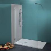 Parete doccia Federica da 120 cm in cristallo 8 mm con braccio di fissaggio Cerniere Sabbiato Liberty