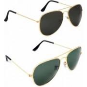Ivonne Aviator Sunglasses(Black, Green)