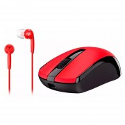 GENIUS Mouse Optico Blue Eye MH-8100 Inalambrico USB + Audifonos Rojo