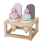 Bloomingville Drewniane lody dla dzieci - zestaw dla lalek, do zabawy, odgrywania ról,
