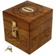 Triple S Handicrafts Handmade Wooden Square Money/Piggy Bank with Lock Coin Bank (Brown)
