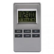 Ceas cu alarma si termometru 2x1.5V AAA Argintiu