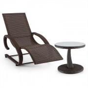 Daybreak ligstoel + tafel set gevlochten bruin