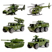 Original Color Die-Cast Metal Military Vehicles Playset, 6 Pack Assorted Army Vehicle Alloy Models Car Toys, Mini Toy Tank, Jeep, Panzer, Anti-Air Vehicle, Helicopter for Kids Toddlers Boys
