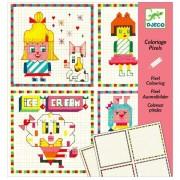 DJECO Kolorowanka HIPSTER GIRLS, zestaw kratkowych plansz do kolorowania DJ09643