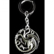 HBO Game of Thrones House Targarye Blood and fire 3D silver 5cm Keychain Keyring