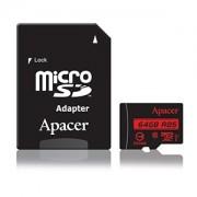 Micro SD Card, 64GB, Apacer MicroSDXC, UHS-I U1, Class10, 1xAdapter RP (AP64GMCSX10U5-R)