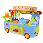 Jerryvon Kitchen Playset Pretend Play Food Truck Toy Role Play Game Set with Light and Sound for Kids Girls Boys over 3 Years