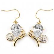 Agatha Swarovski kristályos fülbevaló - Arany színű/Áttetsző kristályos
