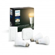 Philips Hue White Ambiance Kit Bridge+Comando+3 Lâmpadas Inteligentes LED E27 9W Brancas