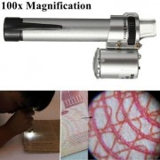 Atoz prime 100X Handheld Pocket LED Pen Style Microscope Loupe Gem Jewelry Magnifier Zoom Pen