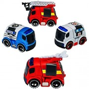 Kids Trucks Mini Trucks Toy Set with Lights and Sirens Emergency Vehicles Toy Playset- Pack of 4 - Police Truck ‰ÛÒ Ambulance - 2 Fire Trucks ‰ÛÒ By Dragon Too