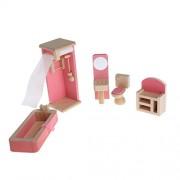 Hunulu Hunulu Miniature House Bathroom Family Children Wooden Furniture Doll Set Kit Toys Accessories