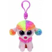 Jucarie Plus cu breloc 8.5 cm Beanie Boos Rainbow Multicolor Poodle TY