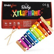 Kinderjazz Rainbow Colored Baby, Toddler, And Kids Xylophone - Musical Instrument Toys For Childhood Learning Development Non Toxic, Beechwood Xylophones With Wooden Mallets