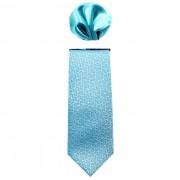 Cravata barbati cu batista decorativa de buzunar - albastru