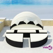 vidaXL Ležaljka za sunčanje s baldahinom crna 186x226 cm poliratan