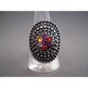 Inel bijuterie fantezie oval cu cristale multicolore