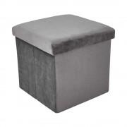 BOXSPRING Skládací sametová stolička s úložným prostorem - sv. šedá