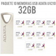 Paquete 10 Memorias USB 32GB ADATA UV210 2.0 Flash Drive Metalica AUV210-32G-RGD