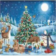 adventskalender met envelop - dieren versieren een kerstboom