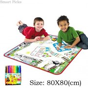 Smart Picks 80 x 80cm City Traffic Set Washable Colouring Mat With Colour Pens. ( Kids educational drawing and colouring toys)