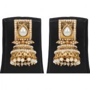 Jewels Gehna Alloy Party Wear Wedding Traditional Stone Stylish Golden Jhumki Earring Set For Women Girls