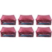 Ajabh High Qulity NEW COMBO OF 6PCS HIGHT SAREE COVER GIFT ORGANIZER TRAVLING BAG KEEP SAREE\SALWAR\JEANS\TOP ETC.(Maroon)
