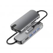 SEEWEI 1098C 8-in-1 USB-C Hub Type-C to USB 3.0 x 3 + TF + SD + PD + 3.5mm Audio + HDMI Adapter