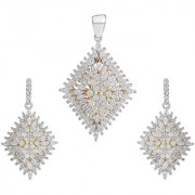 92.5 Sterling Silver Cubic Zirconia Studded Multicoloured Kite Pendant Earrings Set for Women and Girls